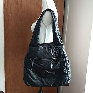 Deena & Ozzy Black Large Puffy Tote Bag